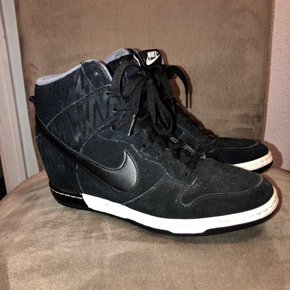 Nike Shoes | Nike Black Suede Wedge